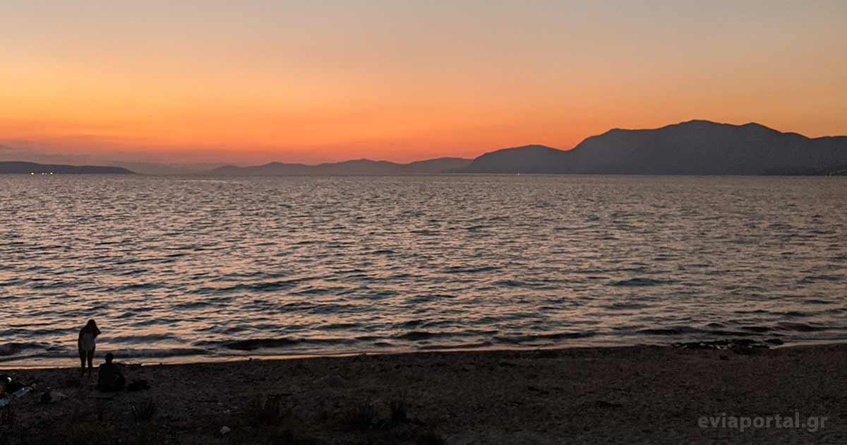 Ηλιοβασίλεμα στην Παραλία Αλυκές στην Χαλκίδα