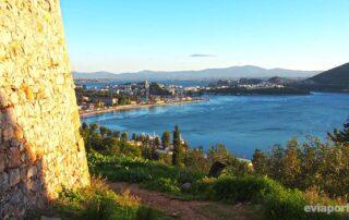 Νότιος Ευβοικός, το Λιμάνι Χαλκίδας και η Υψηλή Γέφυρα από το Κάστρο Καράμπαμπα
