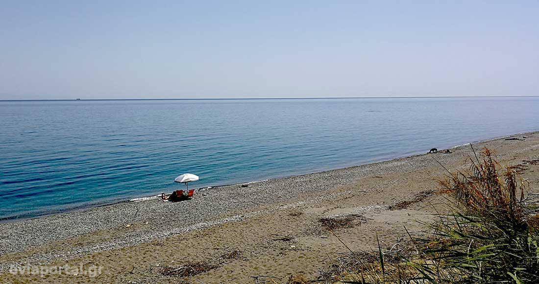 Παραλία Αγίου Γεωργίου Οξυλίθου Εύβοιας, η τεράστια έκταση της είναι ιδανική για απομόνωση
