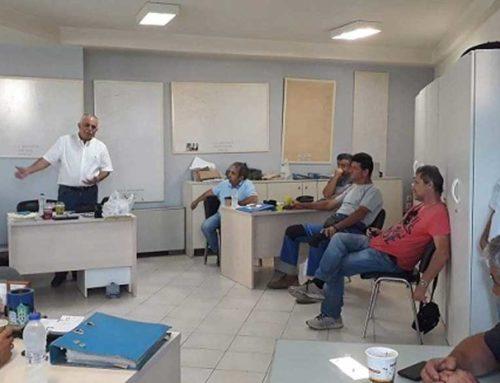Συνάντηση Τάσου Πρατσόλη με εργαζόμενους στο εργοτάξιο της Δ.Ε.Υ.Α.Χ.
