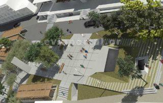 Η πλατεία της νέας Δημοτικής Αγοράς Χαλκίδας μετά την αποκατάσταση