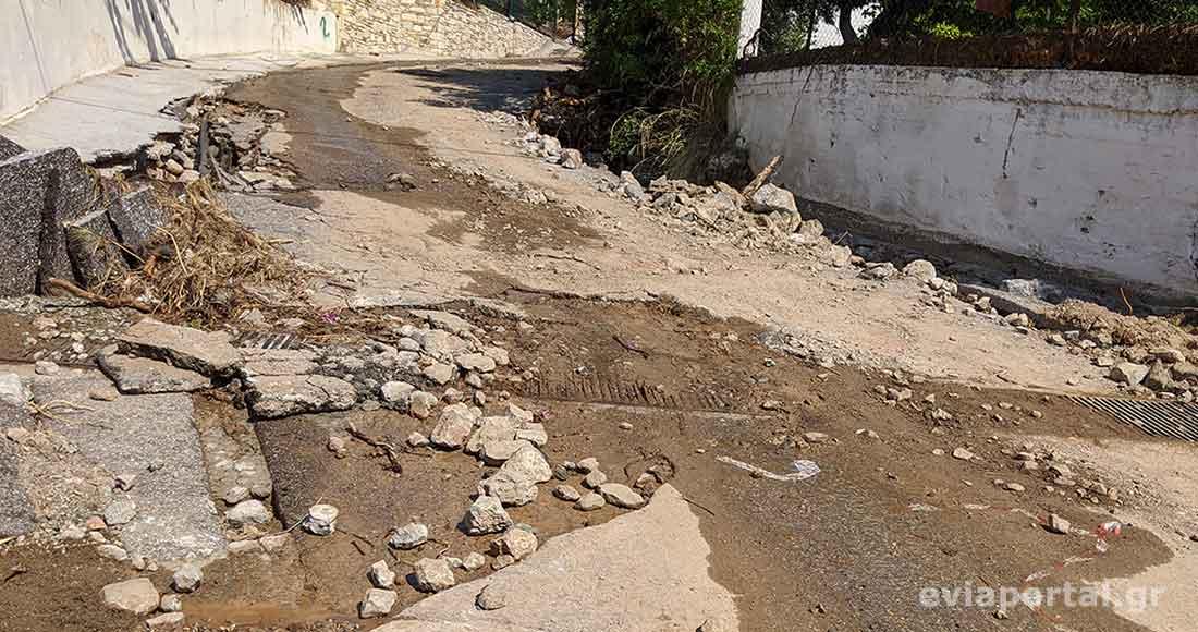 Μεγάλες καταστροφές στο οδικό δίκτυο στα Πολιτικά Εύβοιας