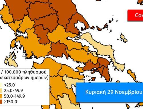 Δύο νέα κρούσματα στην Εύβοια, 98 θάνατοι και 1.193 κρούσματα πανελλαδικά την Κυριακή 29 Νοεμβρίου