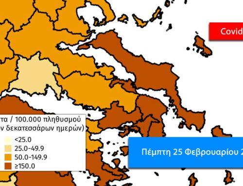 Εικοσιπέντε κρούσματα η Εύβοια, 39 θάνατοι και 1.784 κρούσματα πανελλαδικά την Πέμπτη 25 Φεβρουαρίου