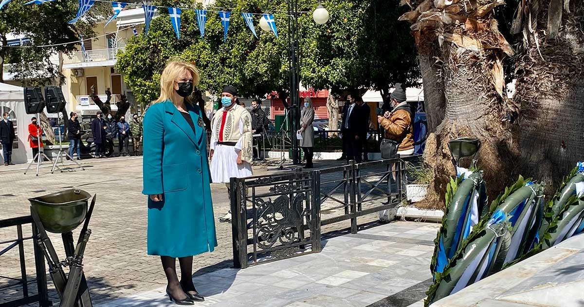 Στις εκδηλώσεις για τον εορτασμό της Εθνικής Επετείου της Ελληνικής Επανάστασης του 1821 η Δήμαρχος Χαλκιδέων